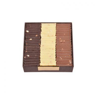 Carrés de chocolat dégustation – 3 saveurs au choix (200 g)