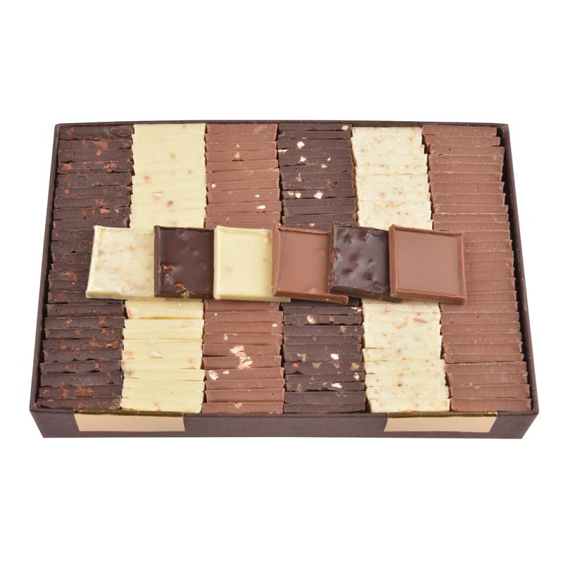 Carrés de chocolat dégustation – 6 saveurs au choix (550 g)