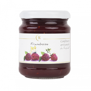 Confiture de frambRaspberry Jam With No Added Sugar, made in Brittany, Franceoises sans sucre ajouté fabriqué en Bretagne