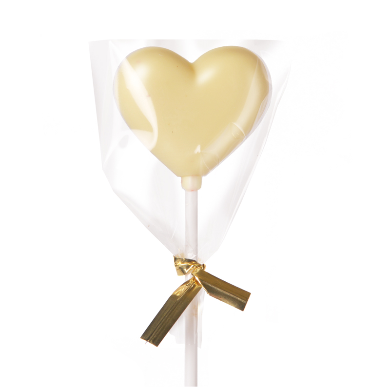 Heart White Chocolate Lollipop packed